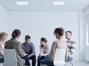 Young people suffering from depression, participating in group psychotherapy